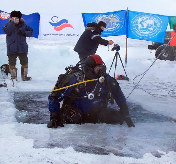 Рекордное погружение на полюсе холода